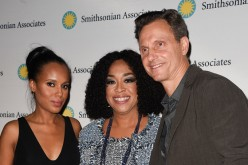 Kerry Washington, Shonda Rhimes and Tony Goldwyn pose on the 'Scandal-ous!' event's red carpet at the University of District of Columbia Theater of the Arts on April 28, 2016 in Washington, D.C.