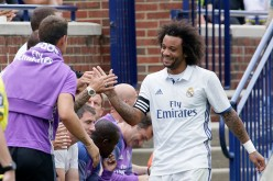 Real Madrid defender Marcelo (R) during the team's friendly against Chelsea.