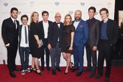 (L-R) Actors Philip Ettinger, Noah Robbins, Linda Emond and Logan Lerman, Director/Writer/Producer James Schamus, and actors Sarah Gadon, Danny Burstein, Pico Alexander and Ben Rosenfeld attend the 'Indignation' New York premiere at the Museum of Modern A
