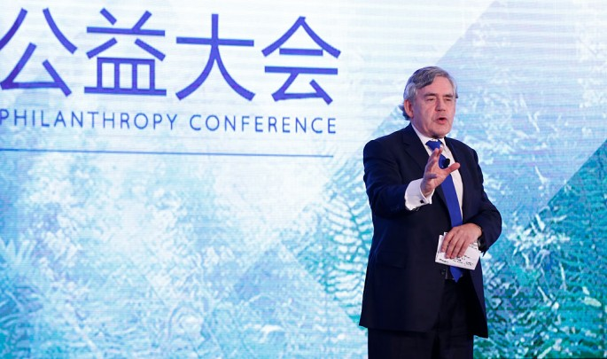 Gordon Brown, former British Prime Minister, gives an opening remark at the first global philanthropy conference sponsored by Alibaba on July 9 in Hangzhou, Zhejiang Province.