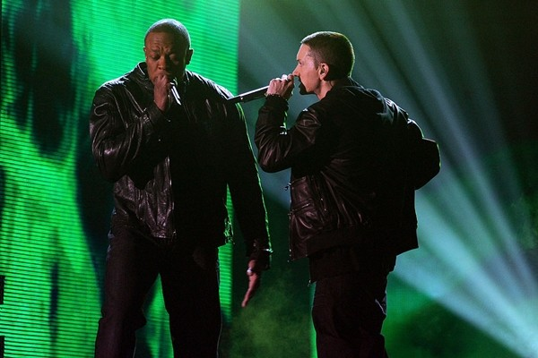'Guilty Conscience' rappers Dr. Dre and Eminem perform onstage during The 53rd Annual GRAMMY Awards held at Staples Center on February 13, 2011 in Los Angeles, California.