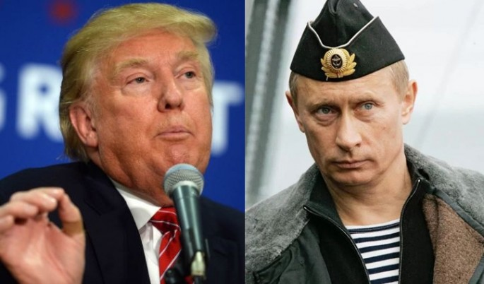 Republican presidential candidate Donald Trump and Russian President Vladimir Putin in the uniform of a Russian Navy officer.