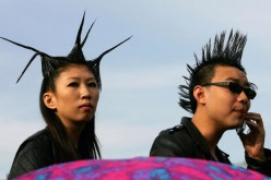Two millennials are seen together on a music festival during Chinese National Day.