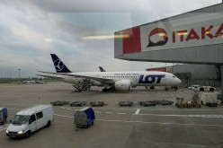 A LOT airliner waits for its flight at Warsaw Chopin Airport, Poland's international airport.