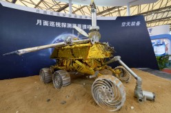 A model of the Chang'e-3 lunar rover is on display at the Shanghai New International Expo Centre on Nov. 5, 2013, in Shanghai, China.