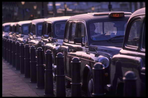 London's iconic back taxis line up the streets of London.