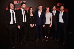 Dan Cohen, Ross Duffer, Winona Ryder, Ted Sarandos, Cindy Holland, Matt Duffer and Shawn Levy attend the Premiere of Netflix's 'Stranger Things' at Mack Sennett Studios on July 11, 2016 in Los Angeles, California.