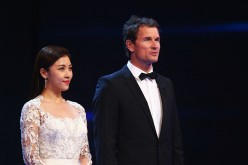 Actress Ha Ji Won and Laureus Ambassador Jens Lehmann during the 2015 Laureus World Sports Awards show at the Shanghai Grand Theatre on April 15, 2015 in Shanghai, China.