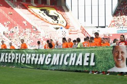 A long banner is displayed across the field during 'Champions For Charity' Football Match to honor the legendary racer, Michael Schumacher.