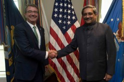 US Defense Secretary Ash Carter and Indian Defense Minister Manohar Parrikar during the latter's visit to the Pentagon this week.
