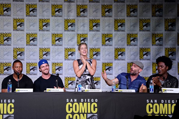 Actors David Ramsey, Stephen Amell, Emily Bett Rickards, Paul Blackthorne, and Echo Kellum attend the 'Arrow' Special Video Presentation and Q&A during Comic-Con Comic-Con International 2016 at San Diego Convention Center on July 23, 2016 in San Diego, Ca