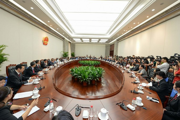 Foreign ambassadors meet with China's Supreme People's Court for a dialogue in Aug. 2014 in Beijing.
