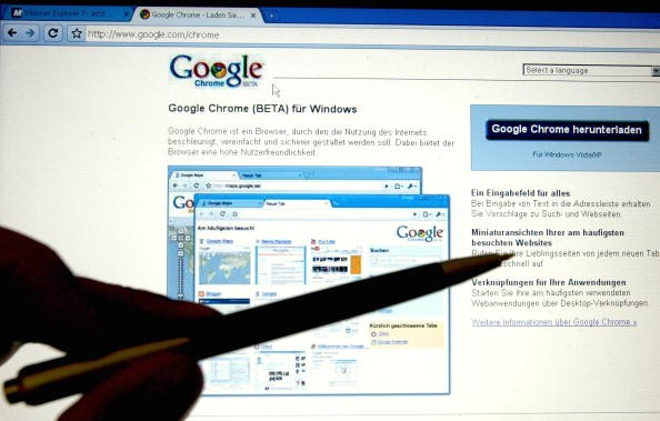 In this photo illustration Google's Chrome, Google Inc.'s new Web browser is displayed on a laptop.