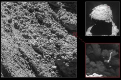 Rosetta's lander Philae is shown in OSIRIS' narrow-angle camera images taken on Sept. 2 from a distance of 2.7 km. The image scale is about 5 cm/pixel.