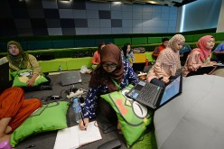 New recruits attend a training session at PT Tokopedia's offices in Jakarta, Indonesia.