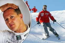 A photo of Michael Schumacher while skiing is displayed along with his photo wearing a uniform.