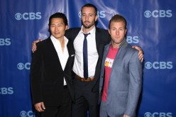 (L-R) Actors Daniel Dae Kim, Alex O'Loughlin and Scott Caan attend the 2011 CBS Upfront at The Tent at Lincoln Center on May 18, 2011 in New York City.