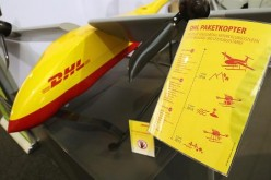 A package delivery drone of German postal carrier DHL stands on display at the ILA 2016 Berlin Air Show on June 1, 2016 in Schoenefeld, Germany.