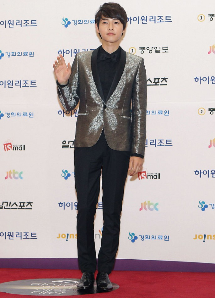 Song Joong Ki arrives for the 49th Paeksang Arts Awards on May 9, 2013 in Seoul, South Korea.
