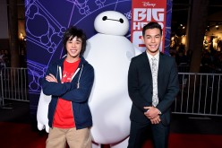 "Actor Ryan Potter (R) with characters Hiro and Baymax attends the Los Angeles Premiere of Walt Disney Animation Studios' ""Big Hero 6' at El Capitan Theatre on November 4, 2014 in Hollywood, California."