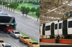 China's new ways to solve its traffic congestion problem are the straddle bus (left) and the sky train (right).