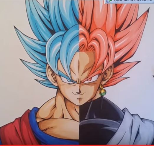 Goku Super Saiyan Blue and Black Goku Super Saiyan Rose transformation fan art.
