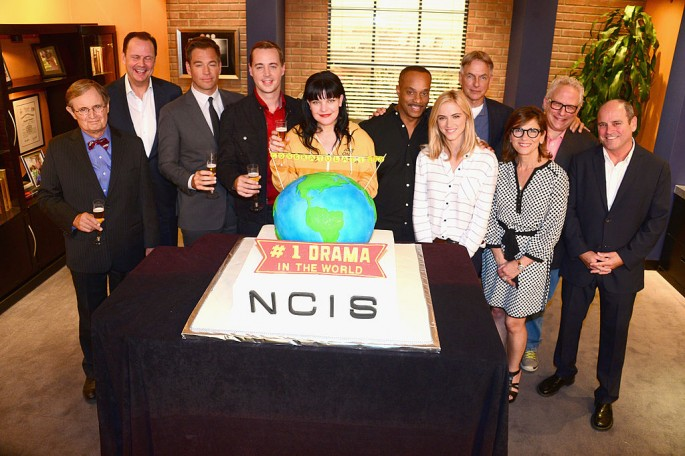 'NCIS' actors David McCallum, Armando Nuñez, Michael Weatherly, Pauley Perrette, Rocky Carroll, Emily Wickersham, Mark Harmon pose with executives Nina Tassler, Gary Glasberg and David Stapf.