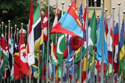 The flags represent all nations in the UN headquarters in Geneva.