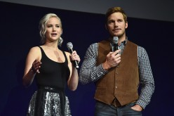 Jennifer Lawrence and Chris Pratt speak onstage during the CinemaCon 2016 'An Evening with Sony Pictures Entertainment: Celebrating the Summer of 2016 and Beyond' held in Las Vegas, Nevada.