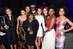 Ellen Pompeo, Caterina Scorsone, Justin Chambers, Chandra Wilson, James Pickens, Jr., Camilla Luddington, Sarah Drew, Jerrika Hinton and Kelly McCreary attend the People's Choice Awards 2016.