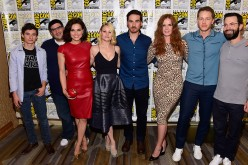 (L-R) Actors Jared Gilmore, producer Edward Kitsis, Lana Parrilla, Emilie de Ravin, Colin O'Donoghue, Rebecca Mader, Josh Dallas and Adam Horowitz attend 'Once Upon A Time' Press Line Comic-Con International 2016 at Hilton Bayfront on July 23, 2016 in San