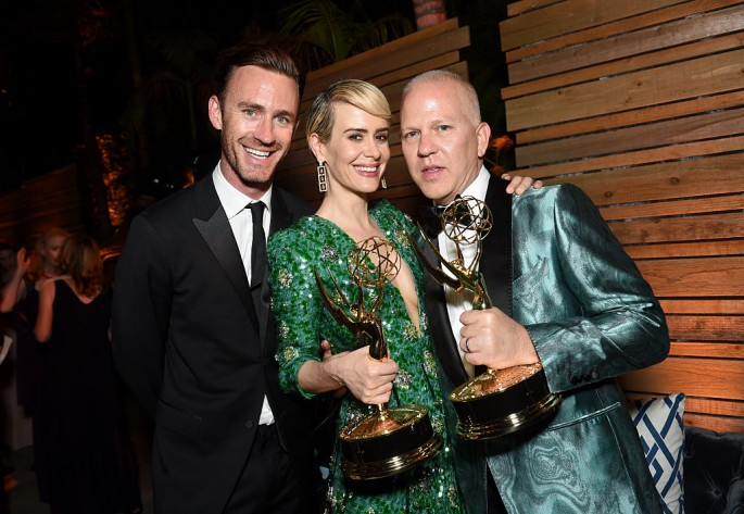 Writer John Gray, actor Sarah Paulson and actor Ryan Murphy attends the FOX Broadcasting Company, FX, National Geographic And Twentieth Century Fox Television's 68th Primetime Emmy Awards after Party at Vibiana on September 18, 2016 in Los Angeles, Califo