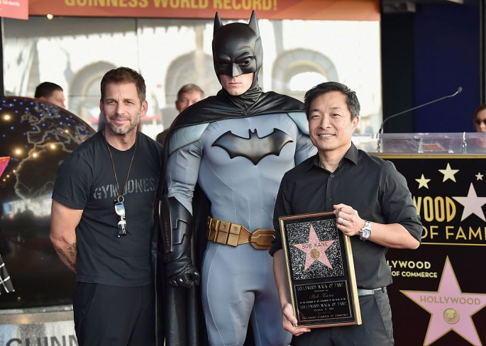 Director Zack Snyder, Batman and DC Entertainment co-Publisher/Comicbook Artist Jim Lee attend a ceremony honoring Batman creator Bob Kane with the 2,562nd star on The Hollywood Walk of Fame on October 21, 2015 in Hollywood, California.