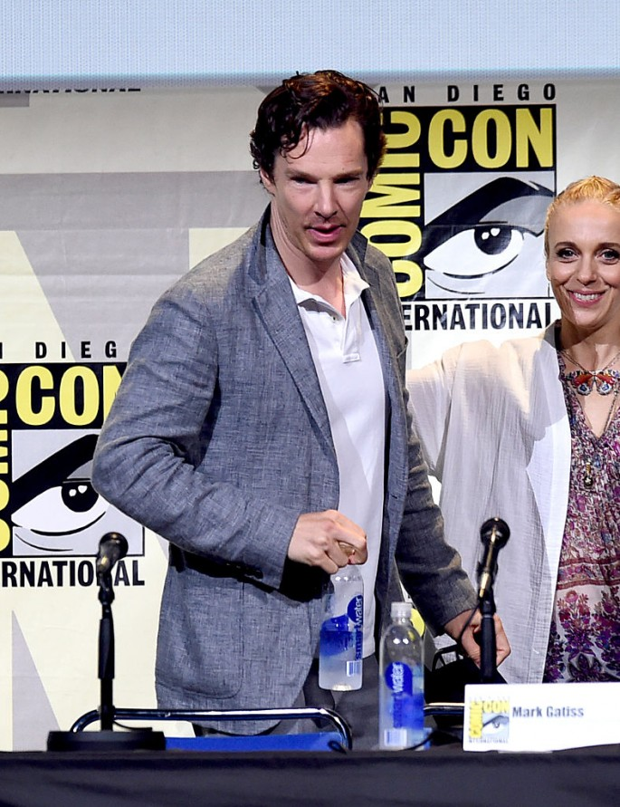 Benedict Cumberbatch (L) and Amanda Abbington attend the 'Sherlock' panel during Comic-Con International 2016 held on July 24, 2016 in San Diego, California.