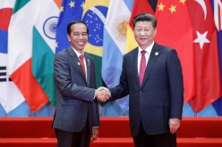 Indonesian President Joko Widodo shakes hands with Chinese President Xi Jinping during a visit.