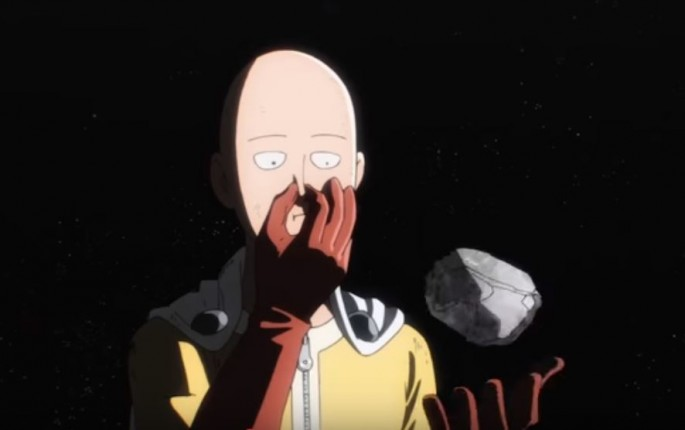 Saitama the main character of One Punch Man holding a rock as seen in one of the episodes in One Punch Man Season 1.