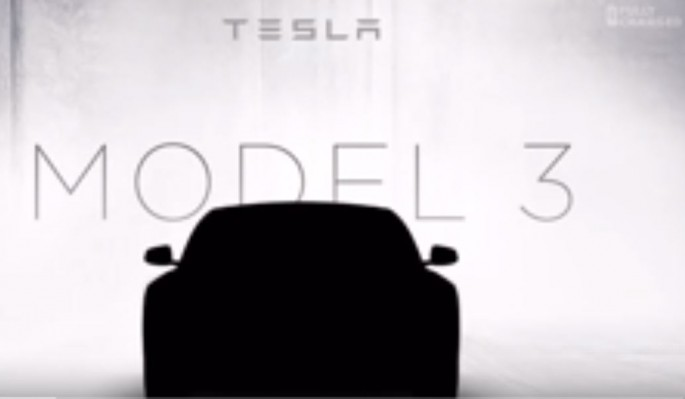 Potential form of Tesla Model 3 car from Tesla Motors.