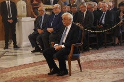 Greece President Prokopis Pavlopoulos attends a church service in honor of Saint Dionysius Aeropageitis, the patron Saint of the city of Athens.