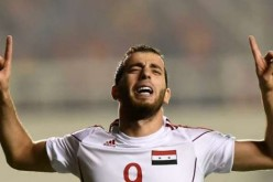 Syria's Mahmoud al-Mawas after scoring the goal that beat China in the Asian 2018 World Cup qualifiers.