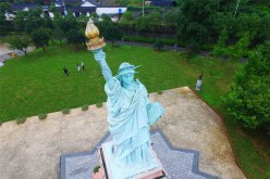 An aerial view of a replica of the Statue of Liberty at a scenic spot in Ningbo city, East China's Zhejiang Province, Oct. 7, 2016.