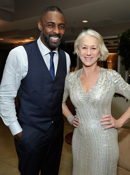Idris Elba and Helen Mirren attend the Weinstein Company & Netflix's 2016 SAG after party hosted by Absolut Elyx at Sunset Tower on January 30, 2016 in West Hollywood, California.