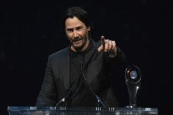 Keanu Reeves accepts the Vanguard Award during the CinemaCon Big Screen Achievement Awards held on April 14, 2016 in Las Vegas, Nevada.