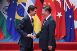 Canadian Prime Minister Justin Trudeau and Chinese President Xi Jingping meet at the G20 Summit.