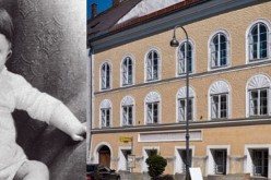 The baby, Adolf Hitler, and the house in Austria where he was born in 1899.