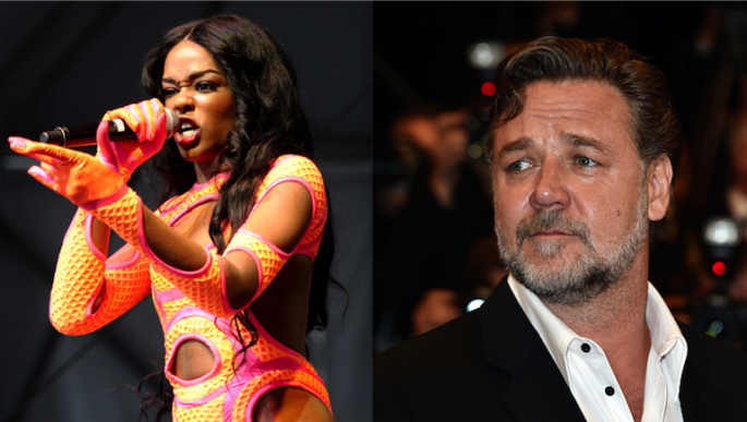 Azealia Banks (L) performs during 2013 Governors Ball Music Festival and Russell Crowe at the 'The Nice Guys' Premiere during the 69th annual Cannes Film Festival.