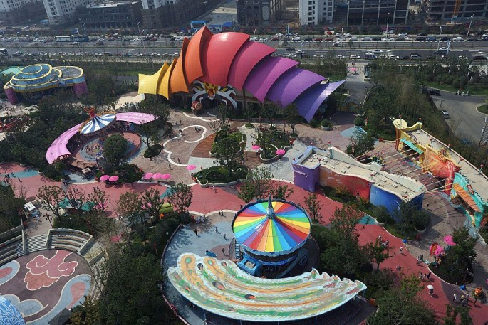 An aerial photo shows the facilities at the newly opened theme park Hefei Wanda Culture Tourism City in Hefei, Anhui Province.