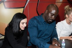 Krysten Ritter and Mike Colter attends the Netflix Presents The Casts Of Marvel's Daredevil And Marvel's Jessica Jones At New York Comic-Con at Jacob Javits Center on October 10, 2015 in New York City.