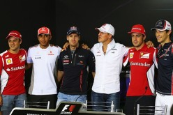Felipe Massa, Lewis Hamilton, Sebastian Vettel, Michael Schumacher, Fernando Alonso and Bruno Senna attend the drivers press conference during previews for the Brazilian Formula One Grand Prix in Sao Paulo, Brazil.