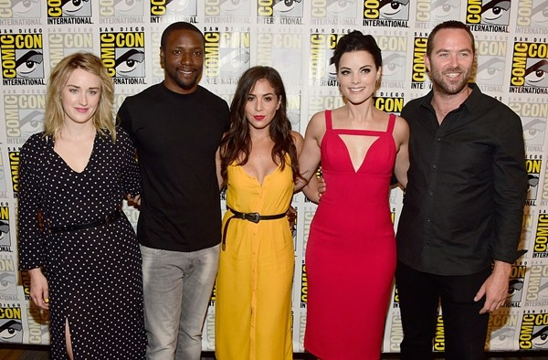 Ashley Johnson, Rob Brown, Audrey Esparza, Jaimie Alexander and Sullivan Stapleton attend 'Blindspot' Press Line during Comic-Con International 2016 at Hilton Bayfront on July 23, 2016 in San Diego, California.