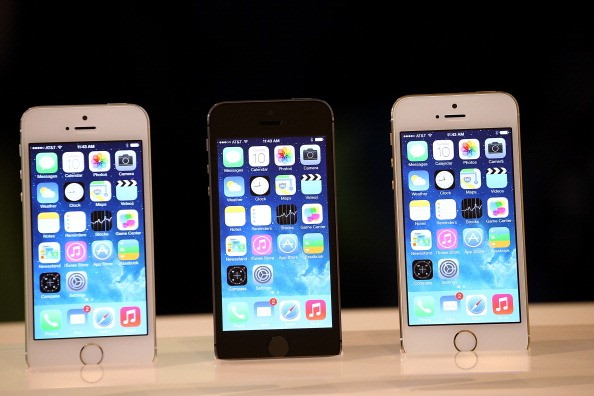 The new iPhone 5S is displayed during an Apple product announcement at the Apple campus on September 10, 2013 in Cupertino, California.
